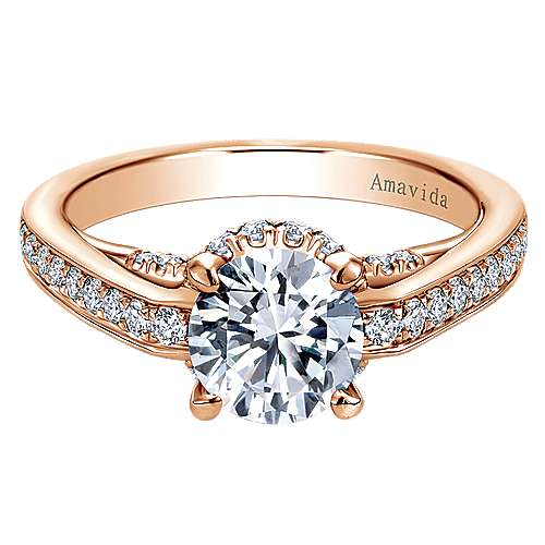 18k Rose Gold Round Halo Engagement Ring angle 1