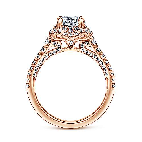 18k Rose Gold Round Halo Engagement Ring angle 2