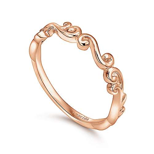 18k Rose Gold Victorian Curved Wedding Band angle 3