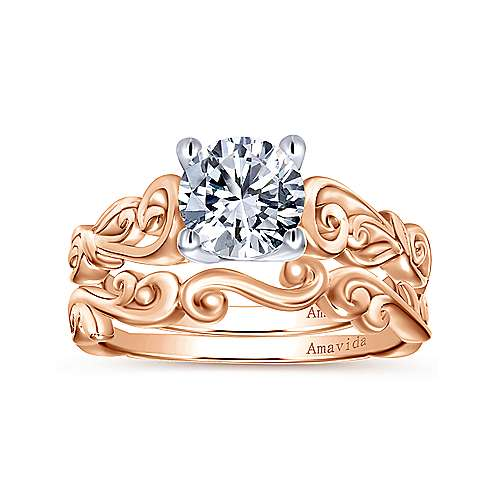18k Rose Gold Victorian Curved Wedding Band angle 4