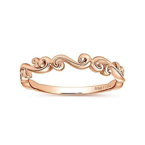 18k Rose Gold Victorian Curved Wedding Band angle 5