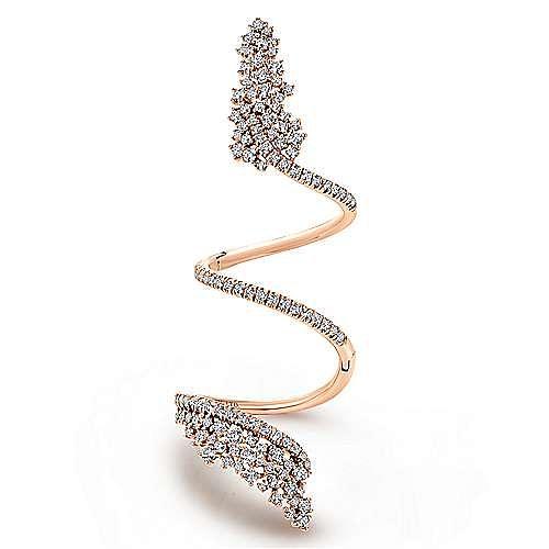 18k Rose Gold Waterfall Statement Ladies Ring
