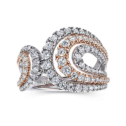 18k White And Rose Gold Allure Wide Band Ladies' Ring angle 4