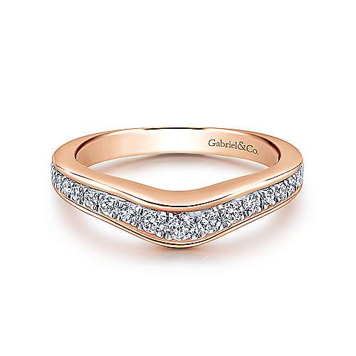 Gabriel - 18k White And Rose Gold Contemporary Curved Wedding Band