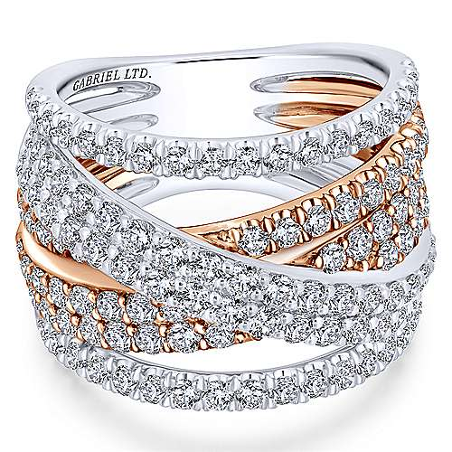 18k White And Rose Gold Contemporary Fashion Ladies' Ring angle 1