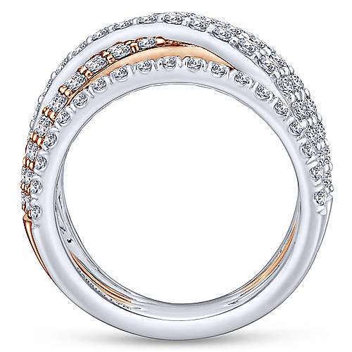 18k White And Rose Gold Contemporary Fashion Ladies' Ring angle 2
