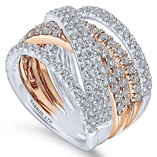 18k White And Rose Gold Contemporary Wide Band Ladies' Ring angle 3