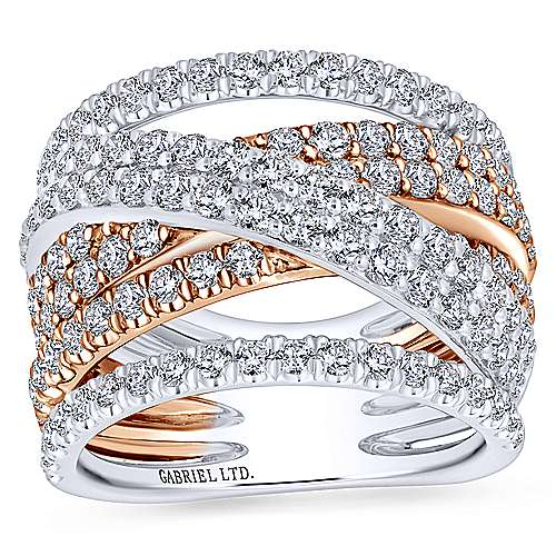 18k White And Rose Gold Contemporary Wide Band Ladies' Ring angle 4