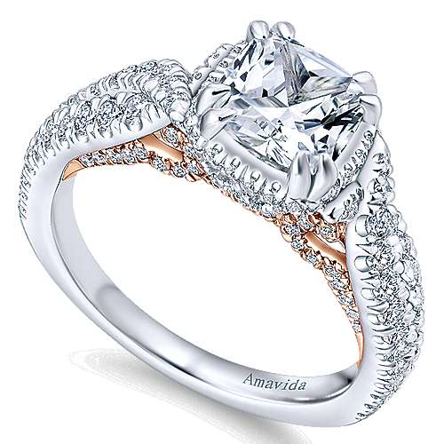 18k White And Rose Gold Cushion Cut Halo Engagement Ring angle 3