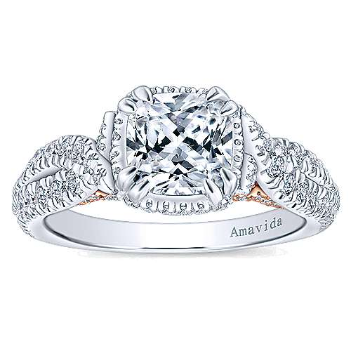 18k White And Rose Gold Cushion Cut Halo Engagement Ring angle 5