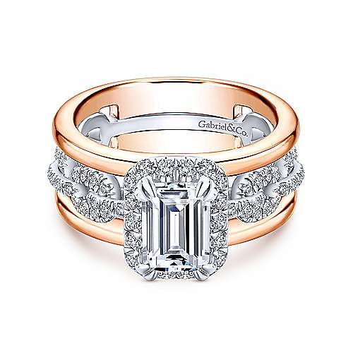 Gabriel - 18k White And Rose Gold Emerald Cut Halo Engagement Ring