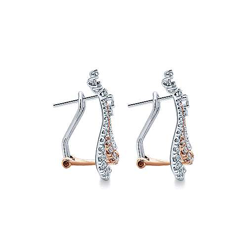 18k White And Rose Gold Lusso Drop Earrings angle 3