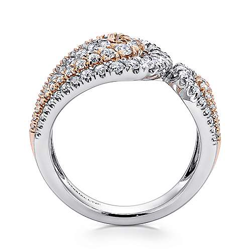 18k White And Rose Gold Lusso Wide Band Ladies' Ring angle 2