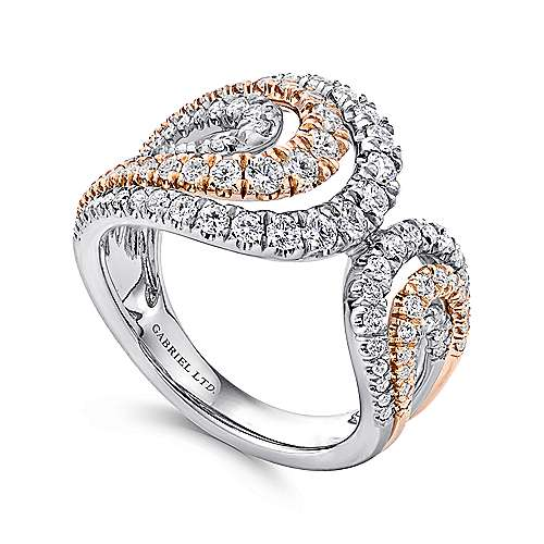 18k White And Rose Gold Lusso Wide Band Ladies' Ring angle 3