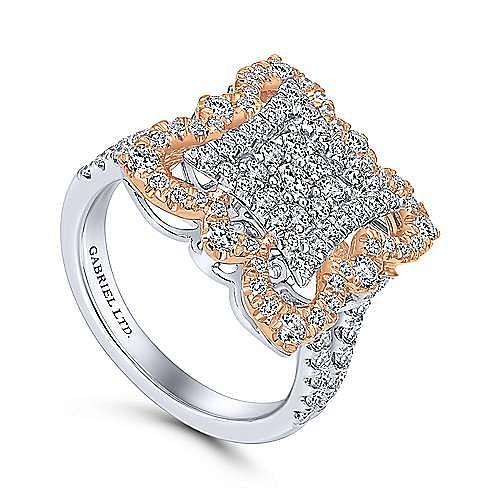 18k White And Rose Gold Mediterranean Fashion Ladies' Ring angle 3