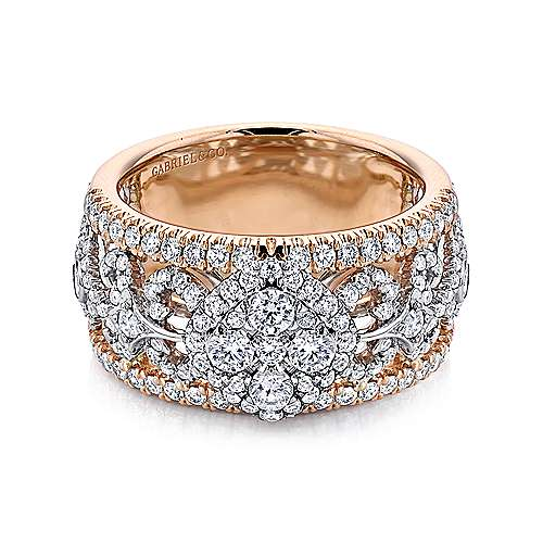 18k White And Rose Gold Mediterranean Wide Band Ladies' Ring angle 1