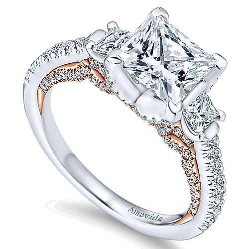18k White And Rose Gold Princess Cut 3 Stones Engagement Ring angle 3