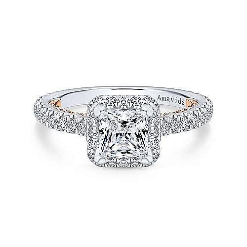 Gabriel - 18k White And Rose Gold Princess Cut Halo Engagement Ring