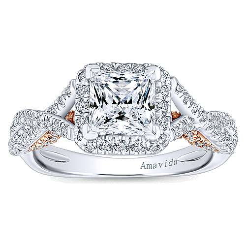18k White And Rose Gold Princess Cut Halo Engagement Ring angle 5