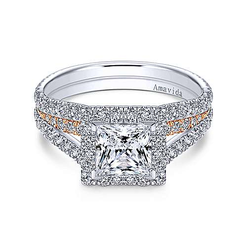 18k White And Rose Gold Princess Cut Halo Engagement Ring angle 1