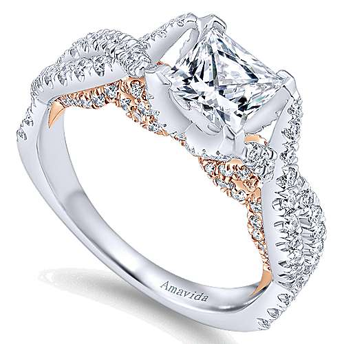 18k White And Rose Gold Princess Cut Twisted Engagement Ring angle 3