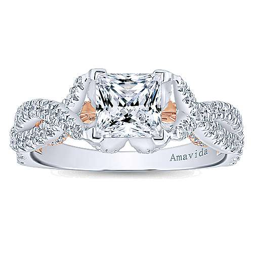18k White And Rose Gold Princess Cut Twisted Engagement Ring angle 5