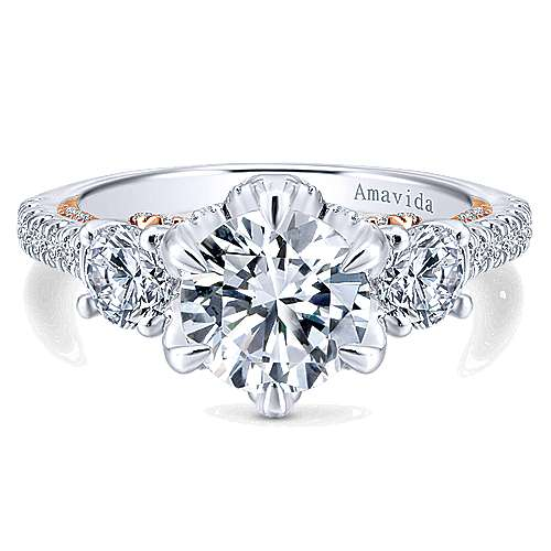 Gabriel - 18k White And Rose Gold Round 3 Stones Engagement Ring