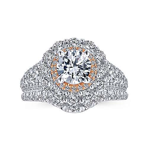 18k White And Rose Gold Round Double Halo Engagement Ring angle 4