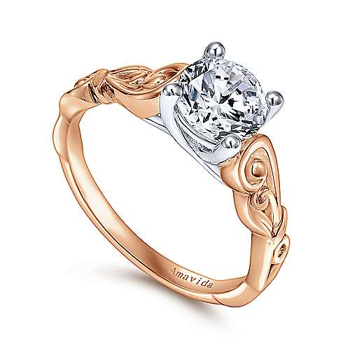 18k White And Rose Gold Round Free Form Engagement Ring angle 3