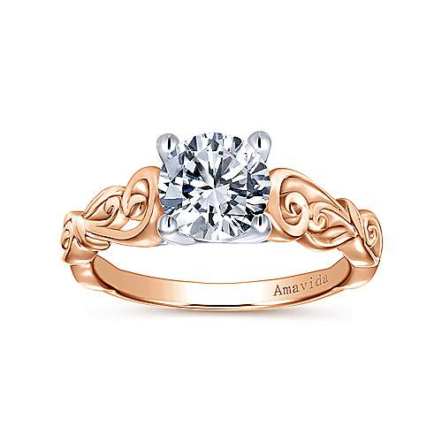 18k White And Rose Gold Round Free Form Engagement Ring angle 5