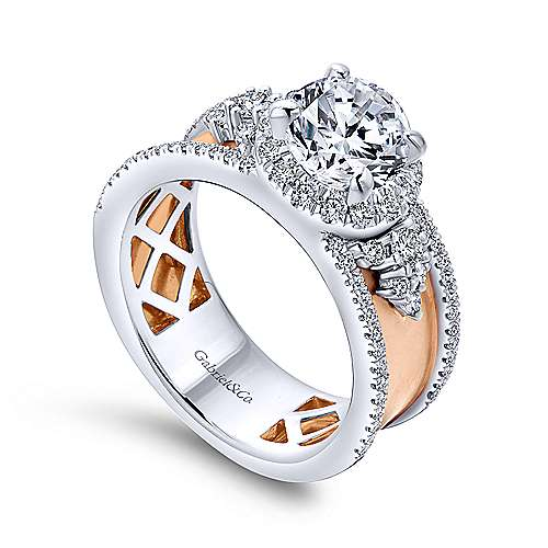 18k White And Rose Gold Round Halo Engagement Ring angle 3