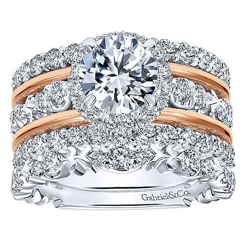 18k White And Rose Gold Round Halo Engagement Ring angle 4