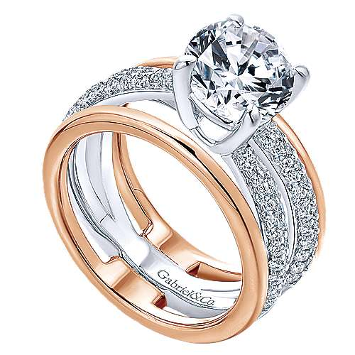 18k White And Rose Gold Round Split Shank Engagement Ring angle 3