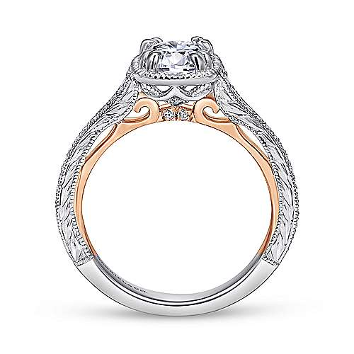 18k White And Rose Gold Round Straight Engagement Ring angle 2