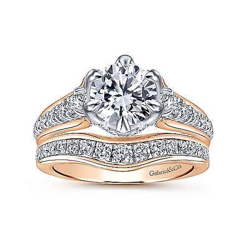 18k White And Rose Gold Round Straight Engagement Ring angle 4