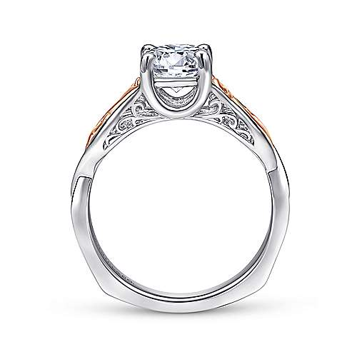 18k White And Rose Gold Round Twisted Engagement Ring angle 2