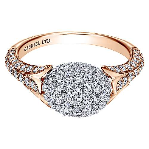 18k White And Rose Gold Silk Fashion Ladies' Ring angle 1