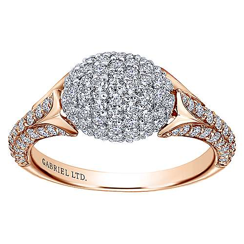 18k White And Rose Gold Silk Fashion Ladies' Ring angle 4