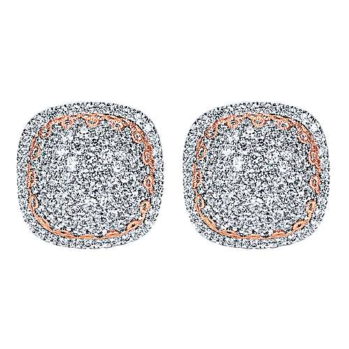 18k White And Rose Gold Silk Stud Earrings angle 1