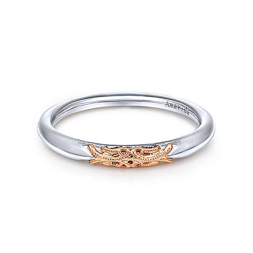 Gabriel - 18k White And Rose Gold Victorian Straight Wedding Band