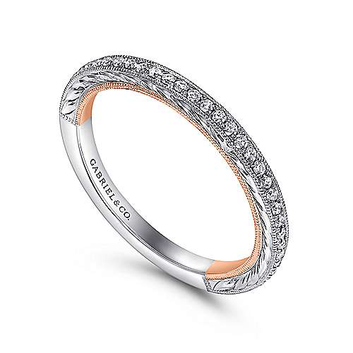 18k White And Rose Gold Victorian Straight Wedding Band angle 3