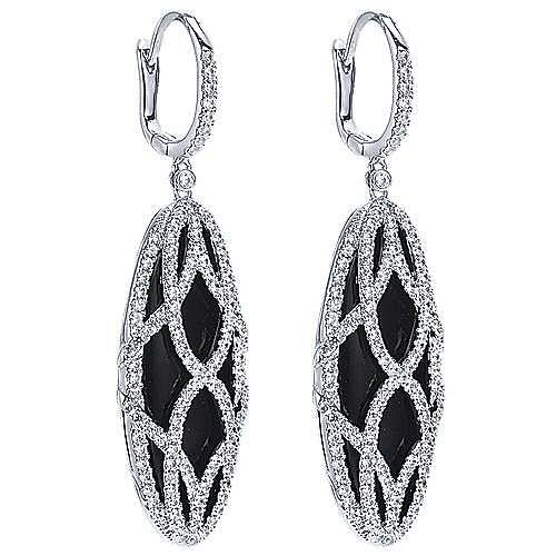 18k White Gold Allure Drop Earrings angle 2