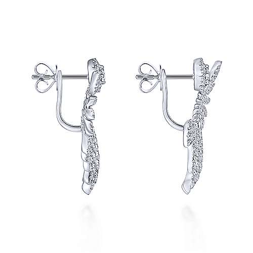 18k White Gold Art Moderne Peek A Boo Earrings angle 3