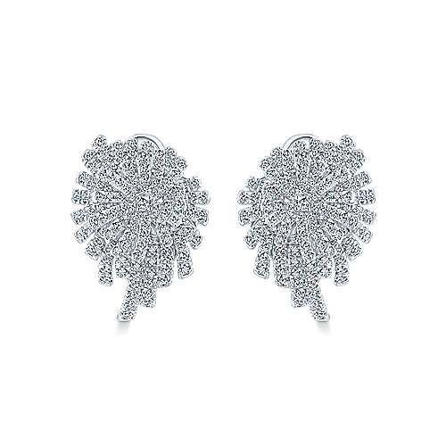 Gabriel - 18k White Gold Art Moderne Stud Earrings