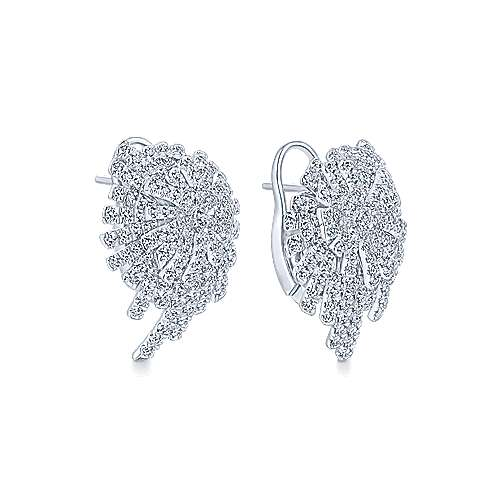 18k White Gold Art Moderne Stud Earrings angle 2