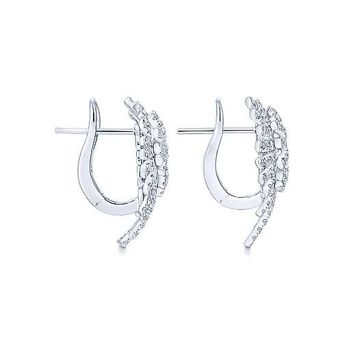 18k White Gold Art Moderne Stud Earrings angle 3