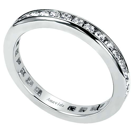 18k White Gold Contemporary Eternity Wedding Band angle 3