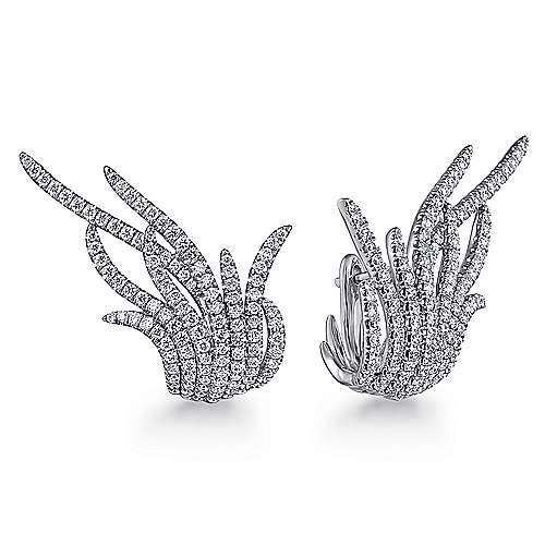 18k White Gold Contemporary Huggie Earrings