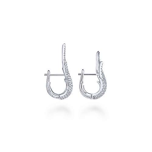 18k White Gold Contemporary Huggie Earrings angle 2
