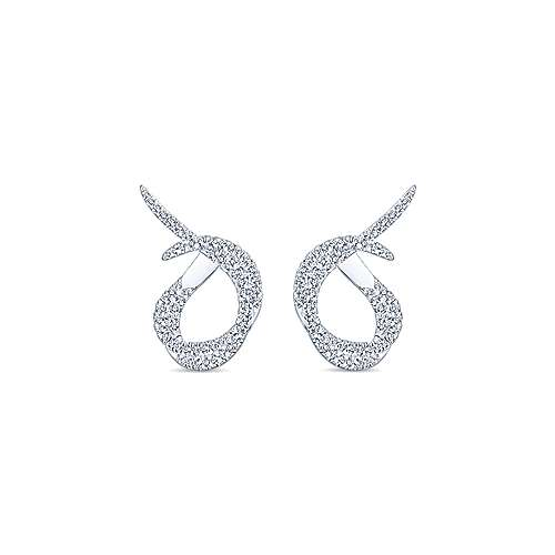 Gabriel - 18k White Gold Contemporary Intricate Hoop Earrings